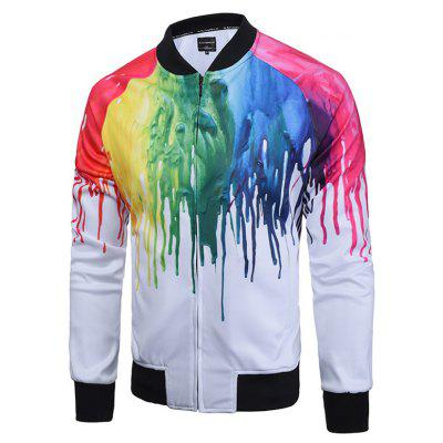 Paint Dripping Print Zip Up Raglan Sleeve Jacket