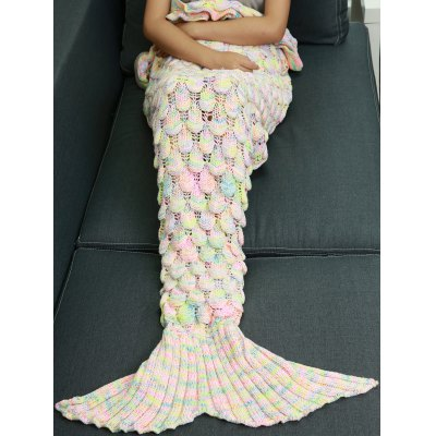 Knitted Openwork Fish Scale Design Mermaid Blanket For Kids - COLORMIX в магазине GearBest