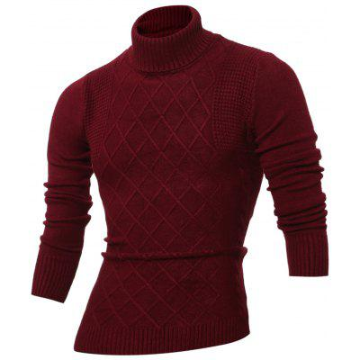 Buy WINE RED Rhombus Jacquard Turtle Neck Long Sleeves Sweater for $10.07 in GearBest store