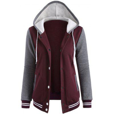 Contrast Sleeve Fleece Baseball Hoodie Jacket