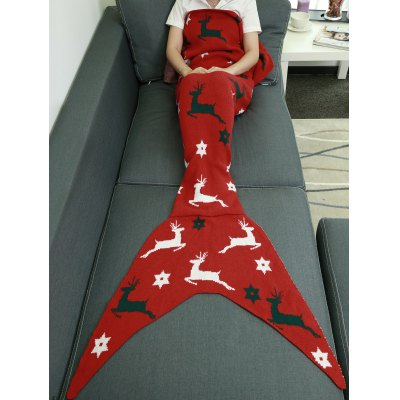 Buy RED Comfortable Christmas Deer Wrap Mermaid Knitted Blankets and Throws for $24.59 in GearBest store
