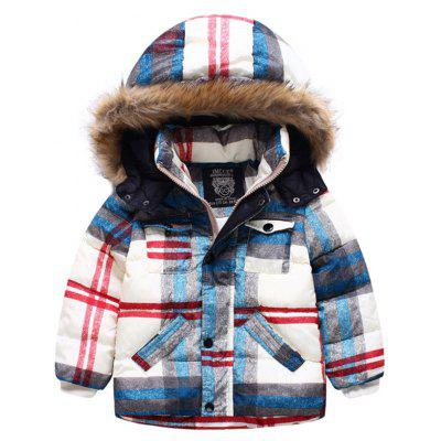 Kids Hooded Plaid Padded Jacket