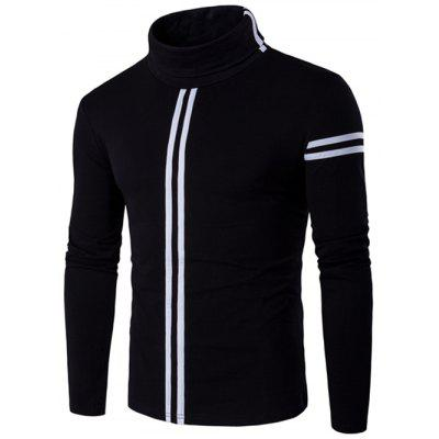 Buy BLACK Roll Neck Varsity Stripe Long Sleeve T-Shirt for $7.45 in GearBest store