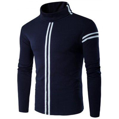 Buy CADETBLUE Roll Neck Varsity Stripe Long Sleeve T-Shirt for $8.31 in GearBest store