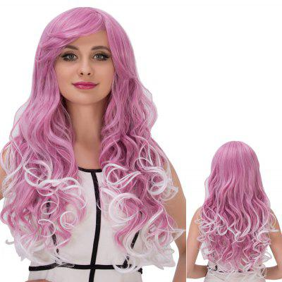 Long Fluffy Side Bang Wavy Purple Mixed White Cosplay Synthetic Wig