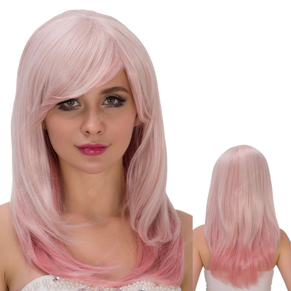 COLORMIX Long Side Bang Straight Tail Adduction Fresh Pink Ombre Film Character Cosplay Wig