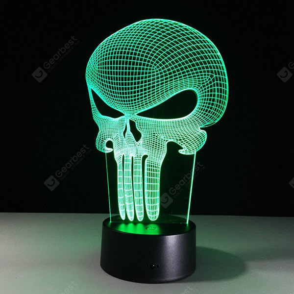 3D Halloween Skull Shape Touch Colorful Night Light