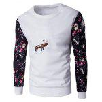 Floral Sleeve Tier Stickerei Sweatshirt - WEIß