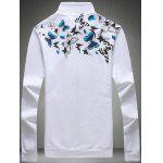 Buy 3D Butterfly Print Zip-Up Jacket 5XL WHITE