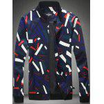 Plus Size Color Block Stripe Print Zip-Up Jacket - COLORMIX