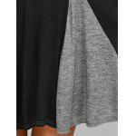 Mini Spliced Fit and Flare Dress - BLACK AND GREY