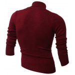 Rhombus Jacquard Turtle Neck Long Sleeves Sweater - WINE RED