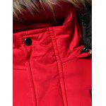 Buy Furry Hood Applique Pockets Zip-Up Padded Coat M ARMY GREEN