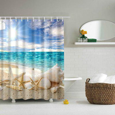 Buy COLORMIX Bath Decor Beach Shell Printed Waterproof Polyester Shower Curtain for $17.85 in GearBest store