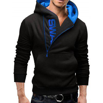 Buy BLACK AND BLUE IZZUMI Letter Print Long Sleeve Side Half-Zip Up Hoodie for $15.24 in GearBest store