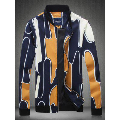 Stehen Abstract Printed Collar Zip Up Jacket