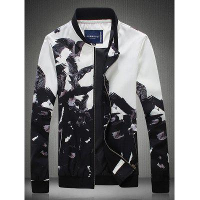 Bird Printed Stand Collar Zip Up Jacket