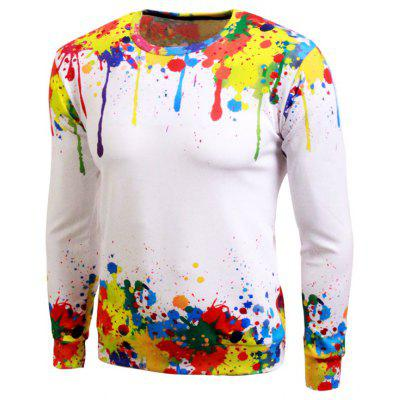Long Sleeve Paint Splash Print Crew Neck Sweatshirt