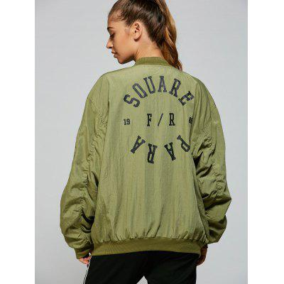 Stand Neck Graphic Bomber Jacket