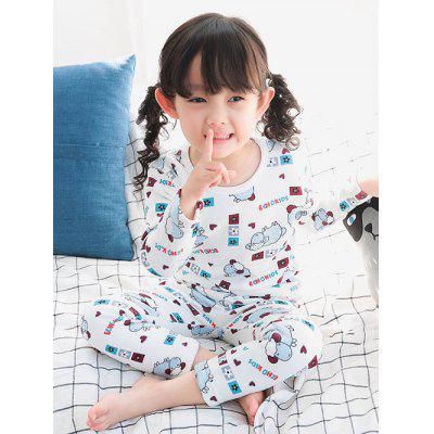 Printed T Shirt Elastic Waist Pants Pyjamas Sets