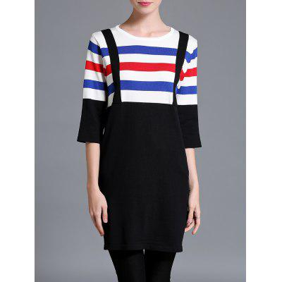 Color Block Stripe Knitted Shift Dress