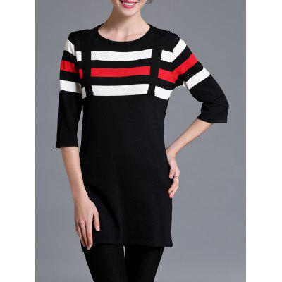 Color Block Stripe tricoté Robe droite