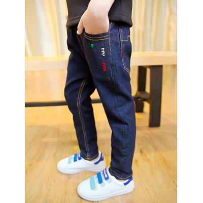 Buy DENIM BLUE Casual Boys Elastic Waist Fleece Thicken Jeans for $10.99 in GearBest store