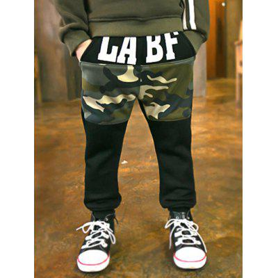 Boys Letter Print Camo Sweatpants