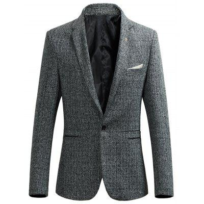 Buy GRAY Lapel Collar Single Breasted Heather Blazer for $42.26 in GearBest store