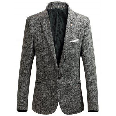Buy KHAKI Lapel Collar Single Breasted Heather Blazer for $42.26 in GearBest store