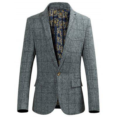 Flap Pocket Single Breasted Grid Blazer