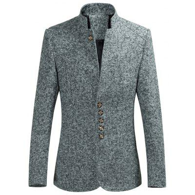 Buy GRAY Multi Button Stand Collar Heather Blazer for $50.52 in GearBest store