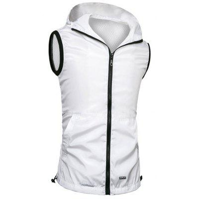 Brief Style Zipper Flying Hooded Casual Vest For Men