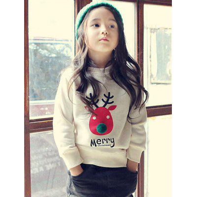 Kids Crew Neck Elk Print Christmas Sweatshirt