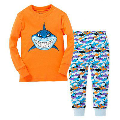 Shark Print Pants Cartoon Pattern Long Sleeves Pajamas Sets