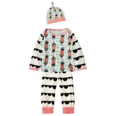 Baby Newborn Toddler Feather Printed Long Sleeve T Shirt Pants Cap 3 Pieces Pajamas Sets