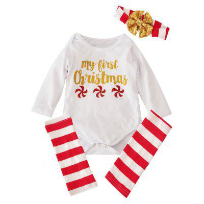 Newborn Infant Toddler 1st Christmas Long Sleeve Romper + Striped Stockings + Headband
