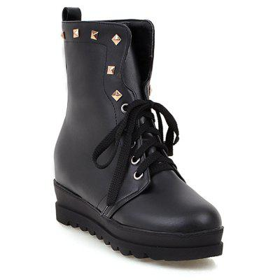 Rivet Lace-Up Platform Boots