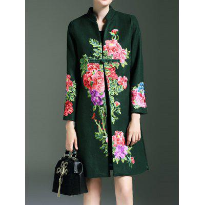 Frog Button Floral Embroidered Coat