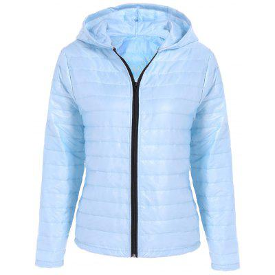 Light blue Slim Quilted Winter Jacket with Hood S-$14.9 Online ...