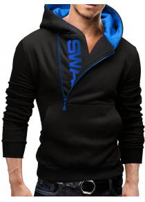 IZZUMI Letter Print Long Sleeve Side Half-Zip Up Black Hoodie Mens