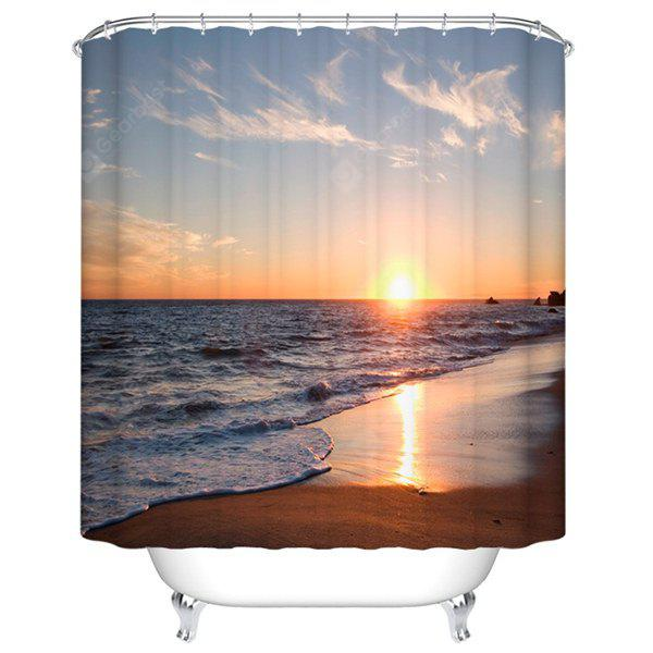 Sea Setting Sun Printed Waterproof Mouldproof Shower Curtain
