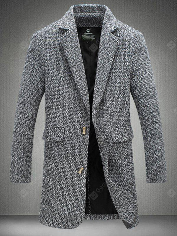 Notch Lapel Sleeve Buttons Single Breasted Texture Coat