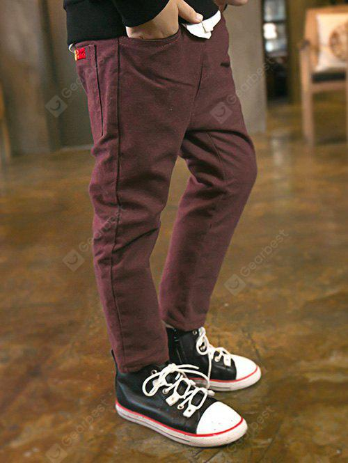 DEEP RED Casual Boys Elastic Waist Fleece Pants