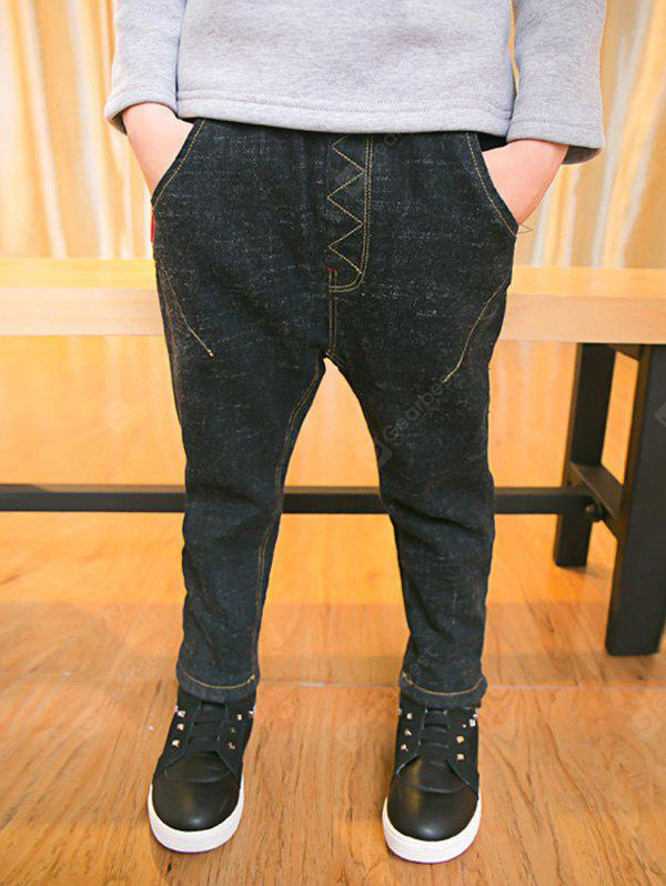 BLACK Casual Boys Elastic Waist Thicken Jeans