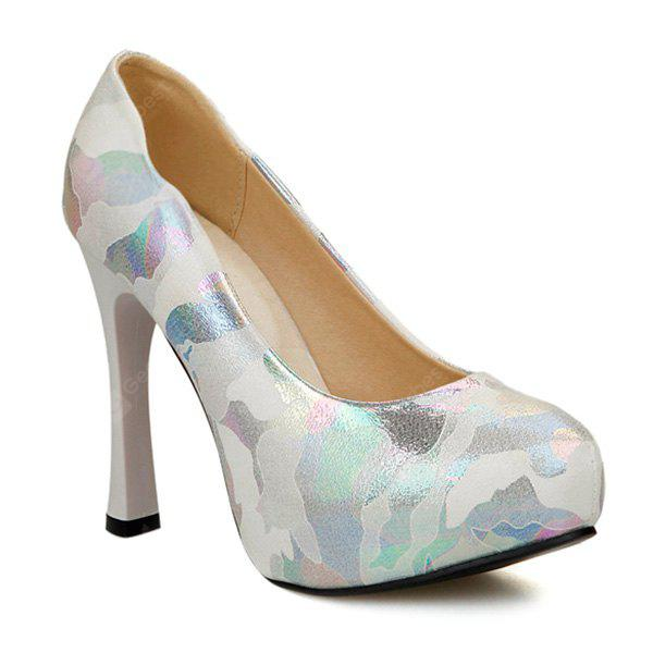 sale extremely cheap top quality Chunky Heel PU Leather Printed Pumps outlet comfortable 83ajC47GwD