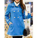 Double Breasted Bowknot A Line Pea Coat - BRIGHT BLUE