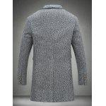 Notch Lapel Sleeve Buttons Single Breasted Texture Coat - CINZENTO