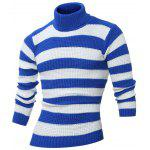 Turtle Neck Long Sleeves Striped Sweater - BLUE