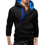 IZZUMI Letter Print Long Sleeve Side Half-Zip Up Black Hoodie Mens - BLACK AND BLUE